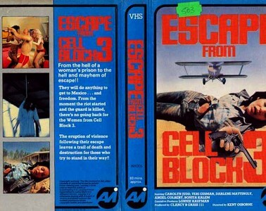 Escape From Cell Block 3 - VHS Video Cover